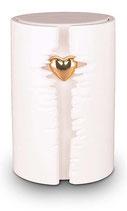 KU101 Wunderschöne Urne aus Keramik mit einem goldfarbenen Herz - 3,8 Liter