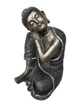 GD5471 Buddha Urne in silbergrau mit kleinen Spiegelplättchen - 3 Liter