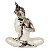 KY1035692 Handgemachte Buddha Urne silberfarben mit Perlmutt belegt - 1,25 Liter