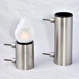 GDL7 Lampe mit LED Kerze und Vase aus Edelstahl im Set