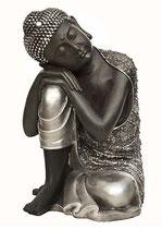 KY1035296 Buddha Urne in schwarz/silber lackiert - 3,5 Liter