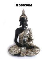Buddha Urne in schwarz und silberfarben lackiert - 0,3 Liter