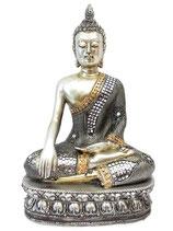 GD15005M Buddha Urne in silberfarben mit Ziersteinen - 1,2 Liter