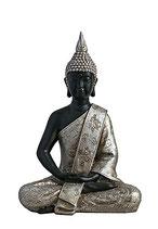 GD8003M Buddha Urne in schwarz/silber - 1,1 Liter