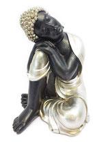 ZV-B09MG Buddha Urne in schwarz/altsilberfarben - 1,6 Liter
