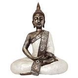 KY1035681 Buddha Urne silberfarben lackiert mit Perlmutt belegt - 2,5 Liter
