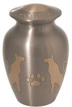 D7075-B Hundeurne aus Messing mit Pfötchen und Hundemotiv - 1,3 Liter