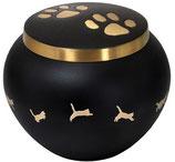D8928-B Katzenurne aus Messing in schwarz goldfarbenen Kätzchen - 0,7 Liter