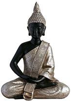 GD8002G Buddha Urne in schwarz und silber lackiert - 4,5 Liter