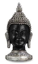 GD993 Buddha Urne in matt schwarz und silberfarben - 3,5 Liter