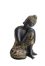 ZV-B3008 Buddha Urne mit Stoffgewand und Glassteinen - 0,7 Liter