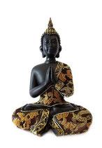 GD23016 Buddha Urne in schwarz lackiert mit Stoffgewand - 0,4 Liter