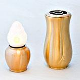 GDL5-L Set aus Grablampe mit LED Kerze und Grabvase aus schwerem und sehr hochwertigem Messing