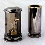 GDM3k Grablaterne mit Öllampe und Grabvase aus Edelstahl im Set