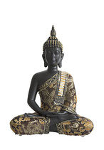 GD23023 Buddha Urne in schwarz lackiert mit Stoffgewand - 0,75 Liter
