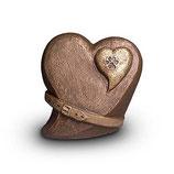 UGK213 Handgemachte Urne aus hochwertiger Keramik mit Bronze überzogen