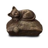 UGK211 Katzenurne aus hochwertiger Keramik mit Bronze überzogen - 1 Liter