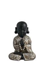 "GD8016K  Buddha Urne ""Shaolin""  in  schwarz/altsilberfarben  lackiert    -  1 Liter"