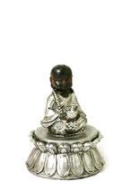 KY1034006 Mini Buddha Urne schwarz und silberfarben lackiert - 0,05 Liter