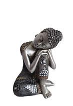 GD15001 Buddha Urne silberfarben lackiert - 0,4 Liter