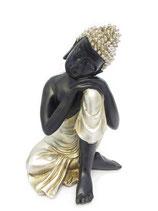 ZV-B09M Buddha Urne in schwarz/altsilberfarben - 0,5 Liter