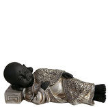 GD8015M Buddha Urne in schwarz/altsilberfarben lackiert 1,2 Liter