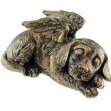GD741 Wunderschöne Hundeurne mit Engelsflügeln in bronzefarben - 1 Liter