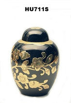 Urne aus hochwertigem Messing mit goldfarbenem Blumenmuster - 0,75 Liter
