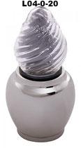 Grablampe mit Glasflamme aus mattem Glas