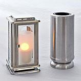 GDMc Grablaterne mit LED Kerze und Grabvase aus Edelstahl