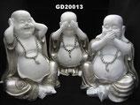 Buddha Urnen in weiß/silber oder schwarz/silber (hear, see, silence) 3 x 1,5 Liter (4,5 Liter)