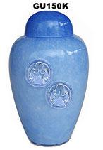Tierurne aus böhmischem Glas mit Pfotenabdrücken in 2 verschiedenen Farben - 1,1 Liter