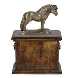 """Pferdeurne """"Shetlandpony"""" aus Holz mit Shetty Skulptur -  13 Liter"""