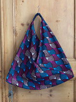 Sac Origami motifs violine/blanc/turquoise