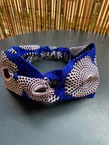 Headband wax bleu vif cercles blanc