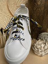 Lacets Wax fleurs de mariage noir/jaune