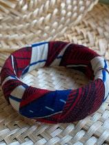 Bracelet 25mm Wax fond blanc feuilles rouge/bleu