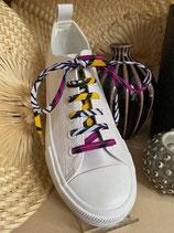 Lacets Wax fleurs de mariage violet/jaune fond blanc