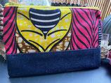 Trousse Wax/jean marbré ocre motifs rose/jaune