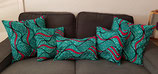Housse de coussin turquoise/fuchsia