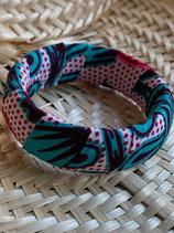 Bracelet 25mm Wax fond pois rouge fleurs émeraude