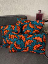 Houssez de coussin fond émeraude fleurs de mariage orange