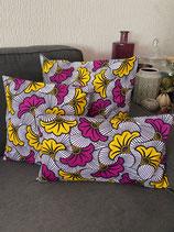 Housse de coussin Fleurs de mariage violet/jaune
