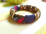 Bracelet 19mm Wax marbré brun/rouge et bleu