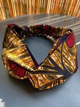 Headband wax fond marbré ocre fleurs rouges/marine