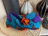 Headband Wax fleurs de mariage violet/orange fond turquoise