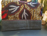 Trousse Wax/jean fond ocre feuilles rouge/marine