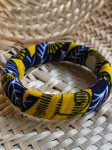 Bracelet 19mm Wax fond jaune fleurs bleues