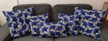 Housse de coussin Fleurs de mariage bleu vif