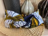 Headband Wax fond blanc fleurs jaune/marine
